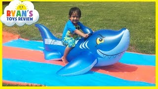 water slide for kids with giant shark h2o go inflatable toys family fun spiderman and superman doll