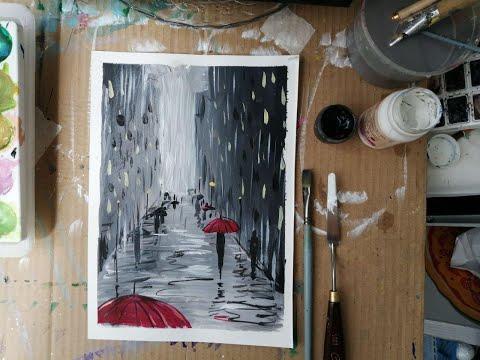 Рисуем дождь акварелью видеоурок