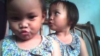 funny baby twins a sing Burung Kaka Tua