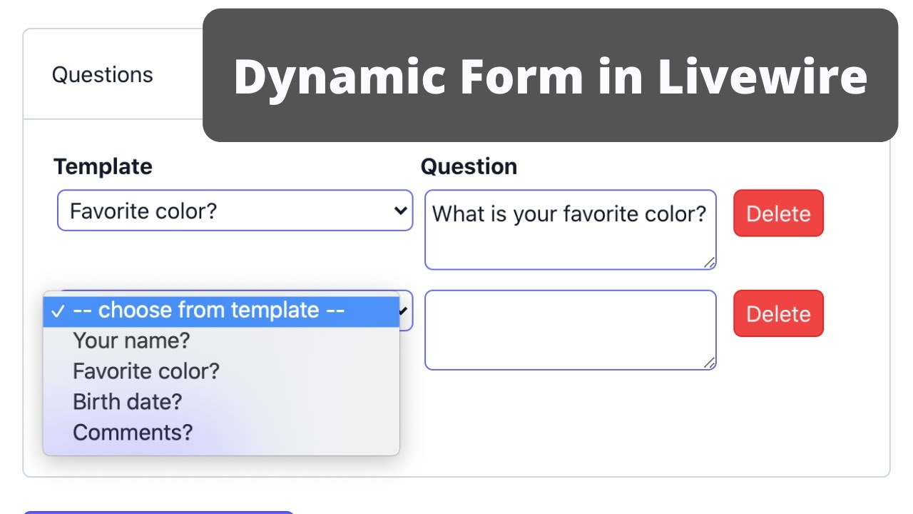 Livewire: Dynamic Form with Add/Delete Row and More