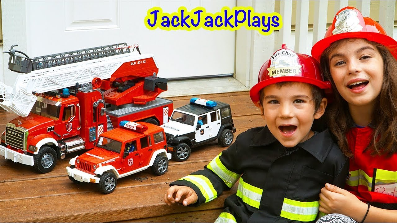 Bruder Trucks Fire Engines Kids Playing With Toys Putting Out Fire