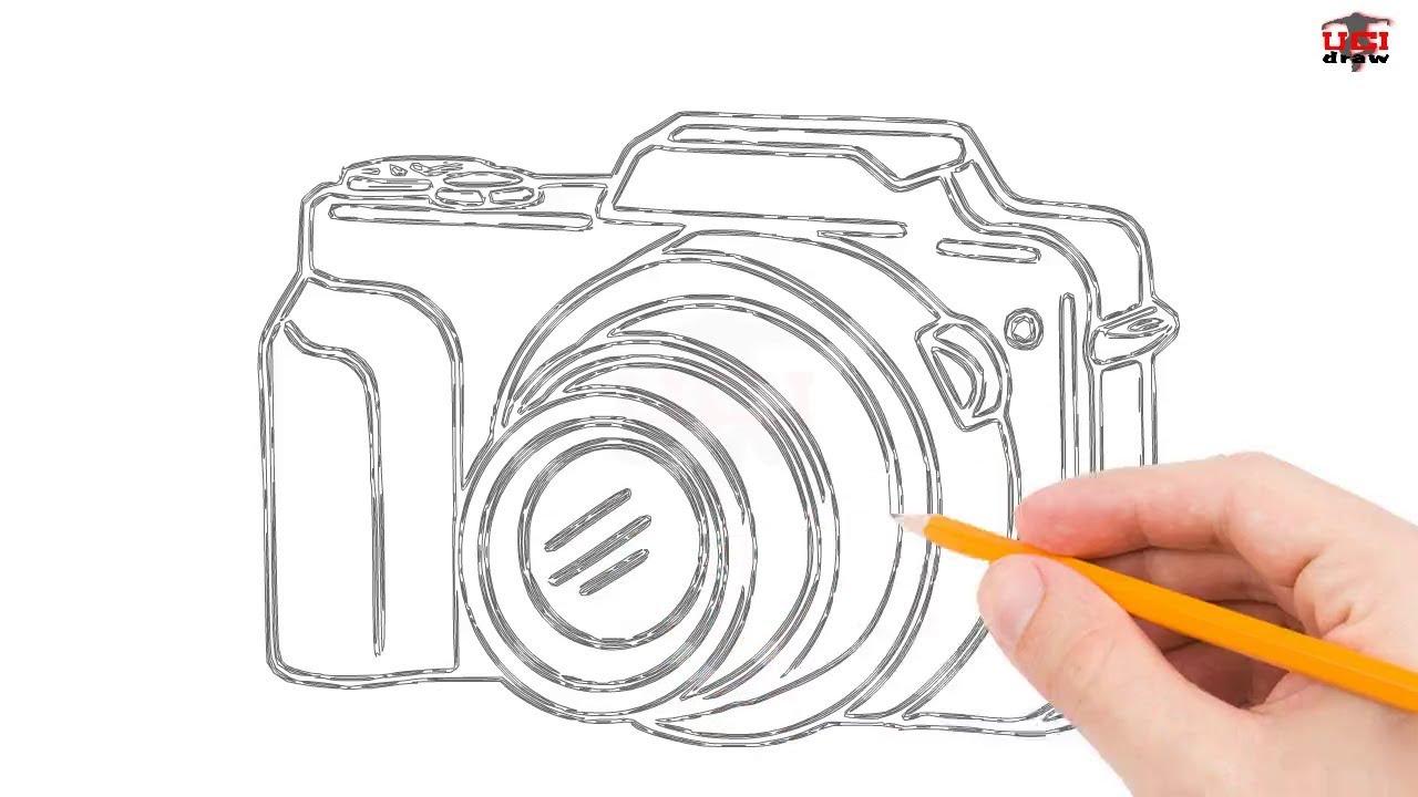 How To Draw A Camera Step By Easy For Beginners Kids Simple Cameras Drawing Tutorial
