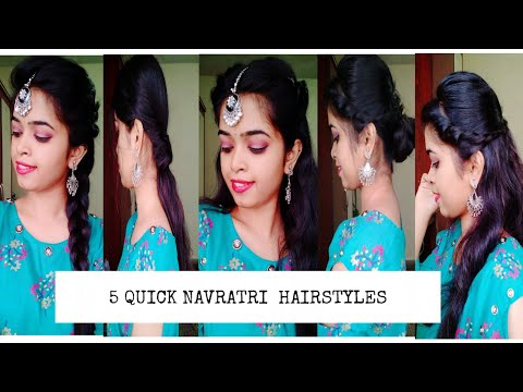 5 Quick & Easy Hairstyles for Navratri/Indian looks (heatless) Preeti bhagwat thumbnail