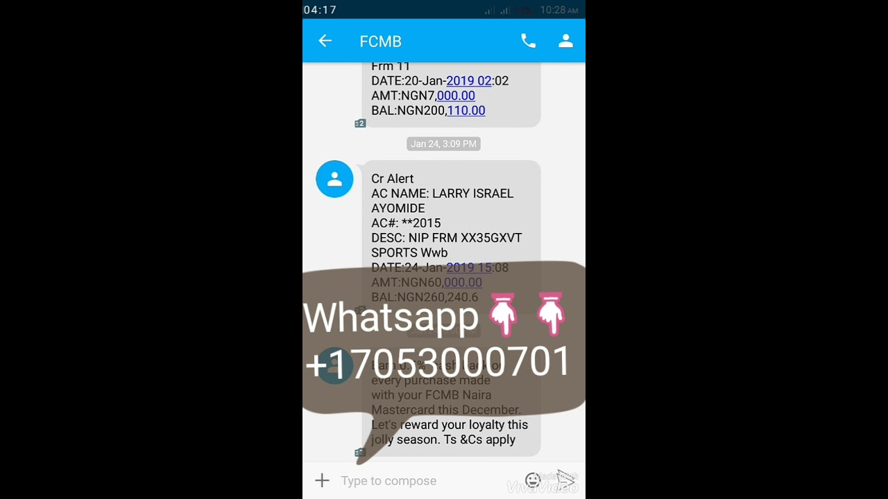 Bank alert payment proves (money made from football without betting
