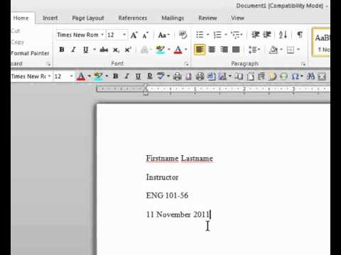 MLA Format in MS Word - YouTube