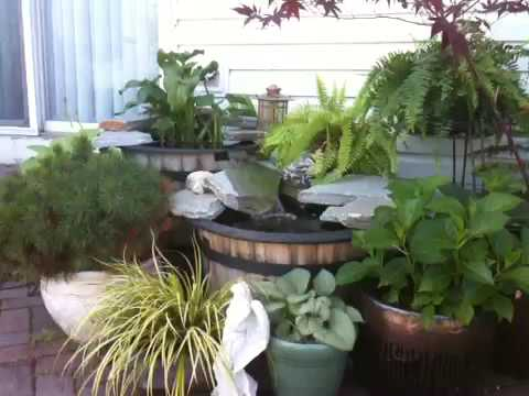 container water garden and waterfall