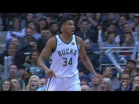 Bucks 16 Blocks! Giannis Antetokounmpo 2 Blks Same Play! Pistons vs Bucks 2017-18 Season
