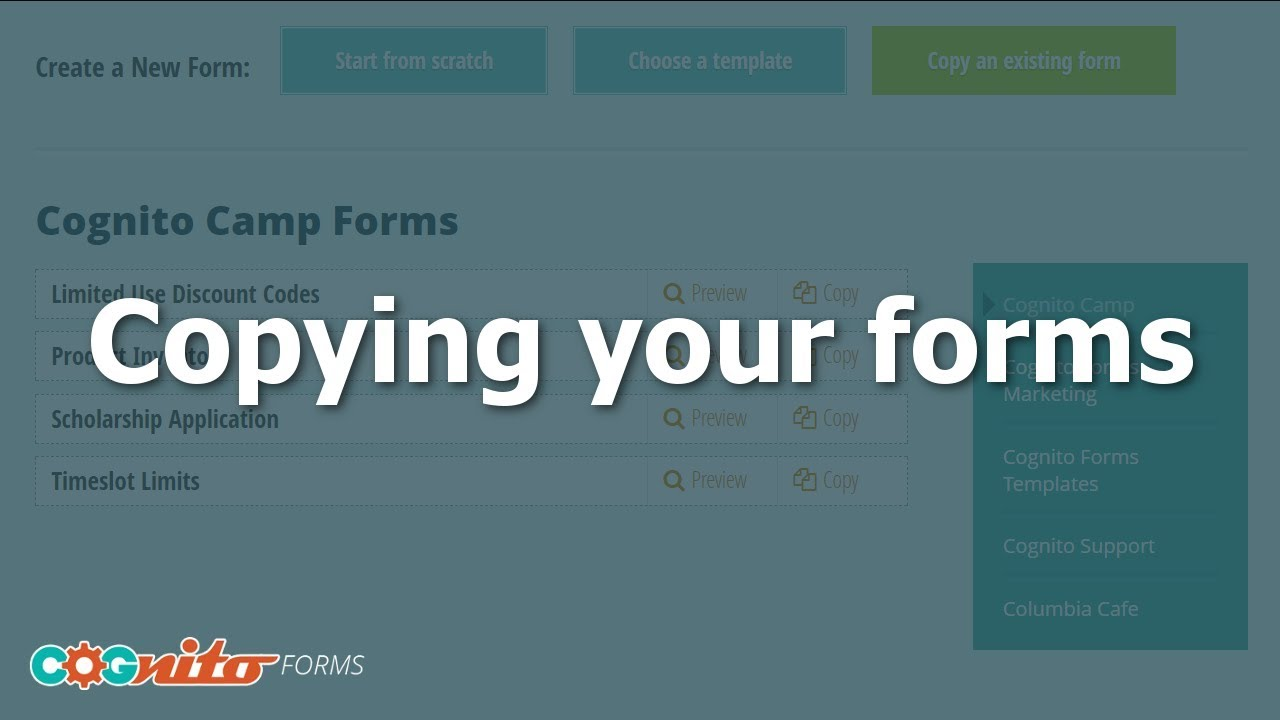 Copying forms - Cognito Forms Support