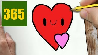 HOW TO DRAW A HEART CUTE, Easy step by step drawing lessons for kids