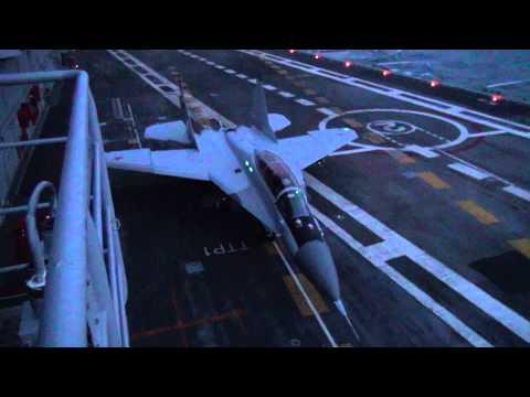 MiG-29KUB Night Take-off From Vikramaditya