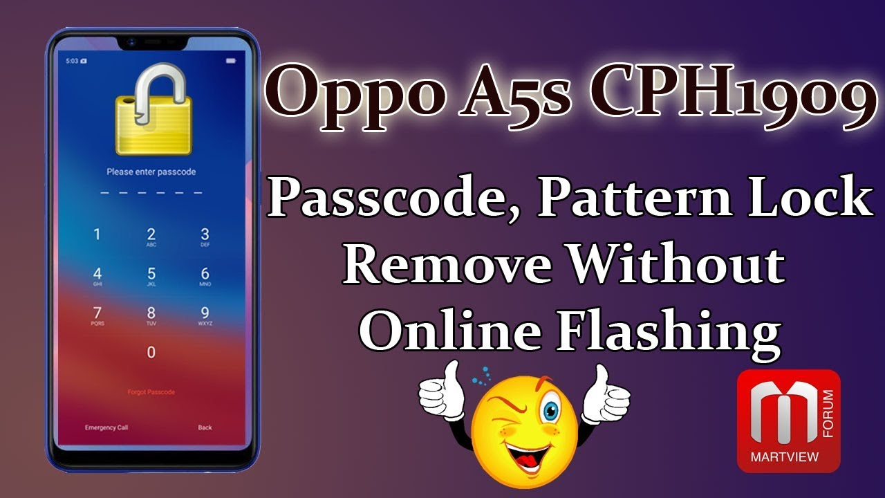 OPPO A5s CPH1909 Passcode, Pattern Lock Remove Without Flashing