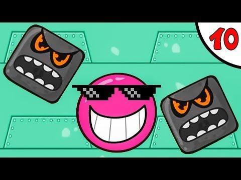 Несносный КРАСНЫЙ ШАРИК против чёрного квадрата и злого шара #10. Игра Red Pink Ball на Игрули TV