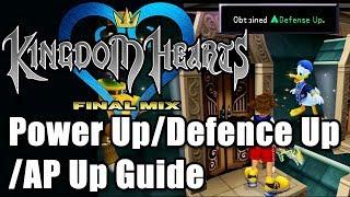 Kingdom Hearts 1.5 HD Uiteindelijke Mix: Power/Defensie/AP-Up Gids