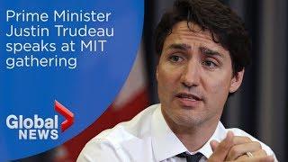Prime Minister Justin Trudeau addresses tech entrepreneurs at MIT