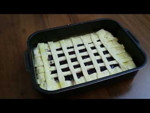 Пирог с черникой из слоенного теста//Простой рецепт//