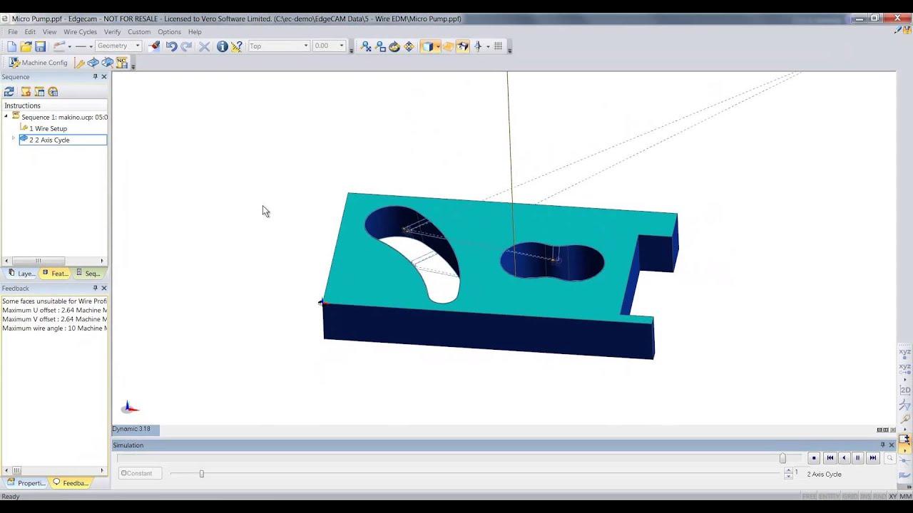 Demo Edgecam 2 Axis Wire EDM - YouTube