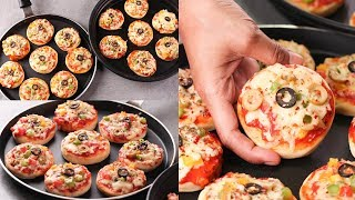 MINI PIZZA ON TAWA I WITHOUT OVEN VEGETABLE MINI PIZZA FOR KIDS I QUICK AND EASY PIZZA RECIPE