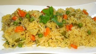 Vegetable Rice (pulav/pulao) in MICROWAVE By Recipe house