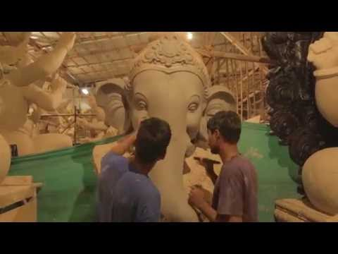 Vijay khatu Biggest Ganpati idol Workshop in mumbai 2016_part 2