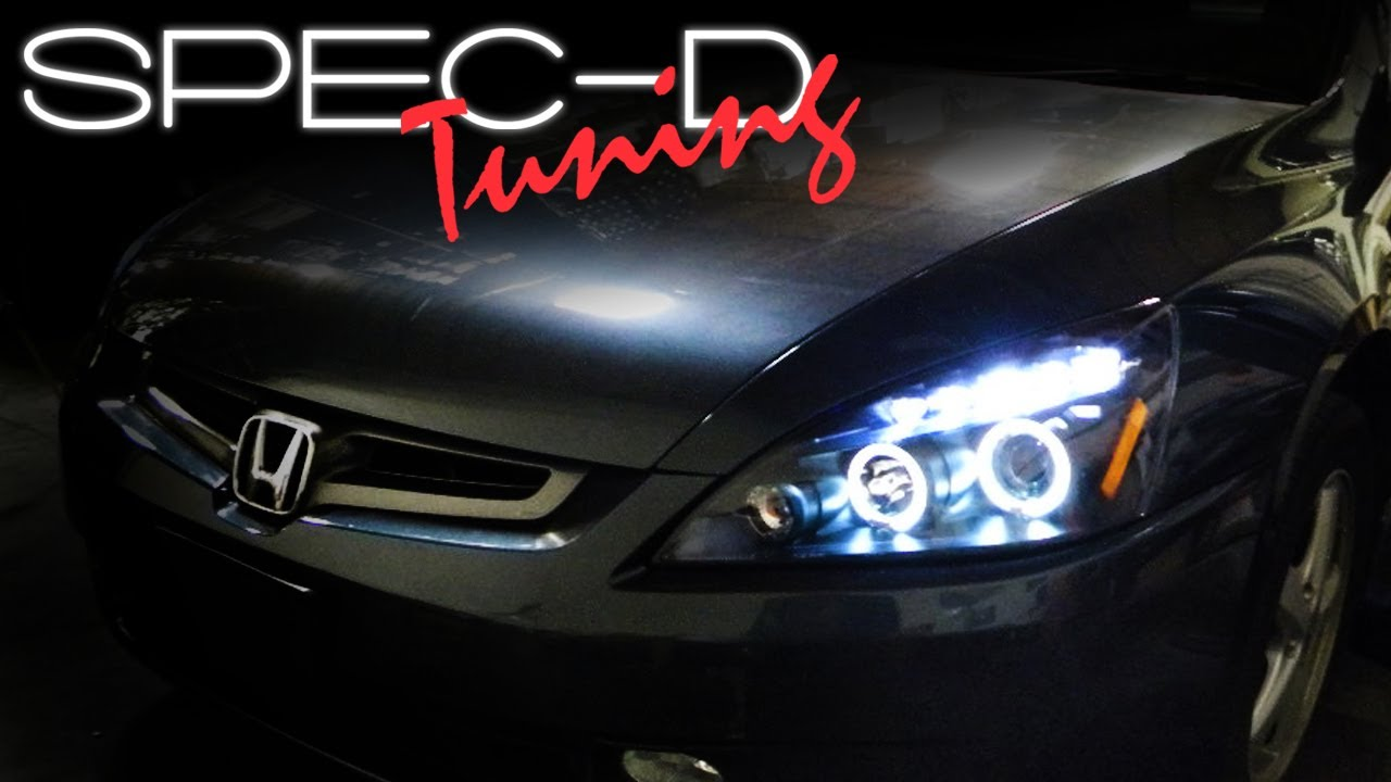 SPECDTUNING INSTALLATION VIDEO: 2003 2007 HONDA ACCORD PROJECTOR HEAD  LIGHTS   YouTube