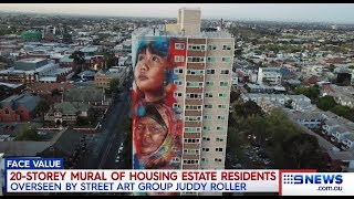Nine + Seven News. Multiculturalism In Your Face Flats Mural.(Collingwood)
