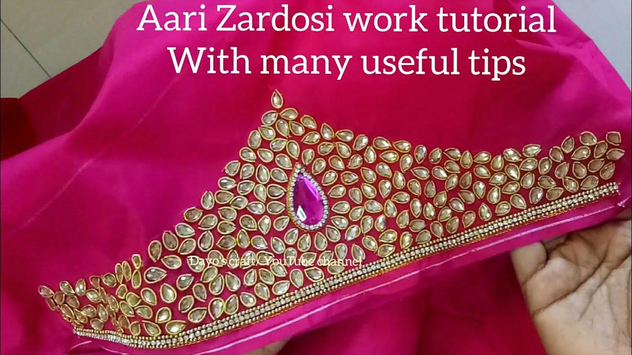 575166b28 Aari/ Maggam work| Making of heavy work with Zardosi, Kundan stones| aari  work on sleeves