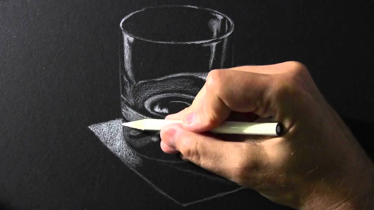 Drawing time lapse white pencil on black paper