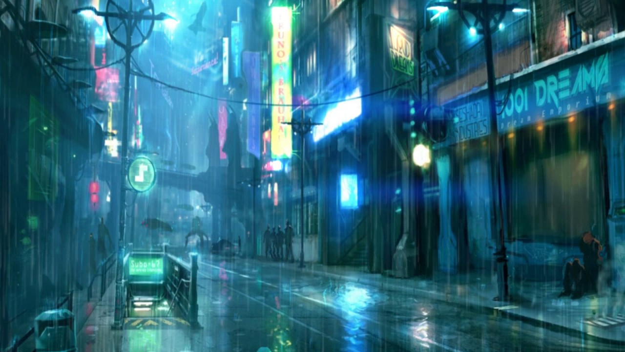 Image result for cyberpunk city photo rain