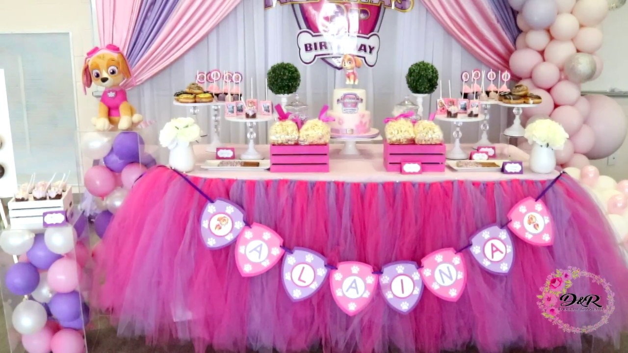 Skye Paw Patrol Birthday Party Decor Setup