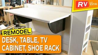 RV REMODEL - DIY RV Table / Desk / TV Lift Cabinet Build (Part 1)