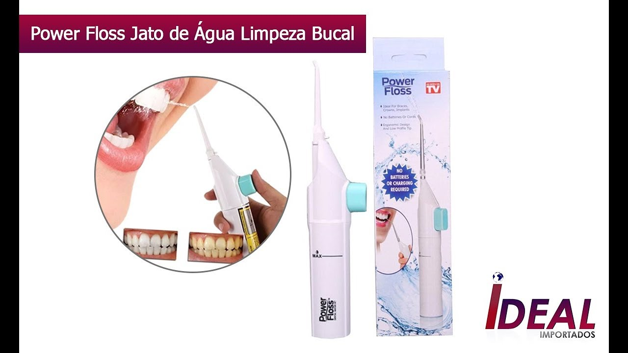 af50fb58a Power Floss Jato de Agua Limpeza Bucal Oral E Aparelho - YouTube