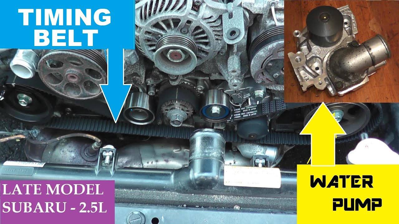 subaru timing belt water pump thermostat replacement youtube rh youtube com Subaru 2.5 Boxer Engine Subaru 2.2 Engine Diagram