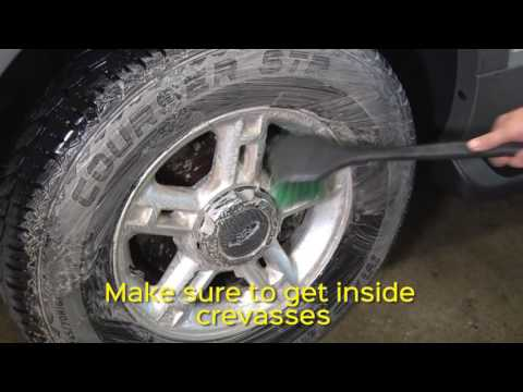 Using Stoner Wheel Cleaner to clean your tires and rims.