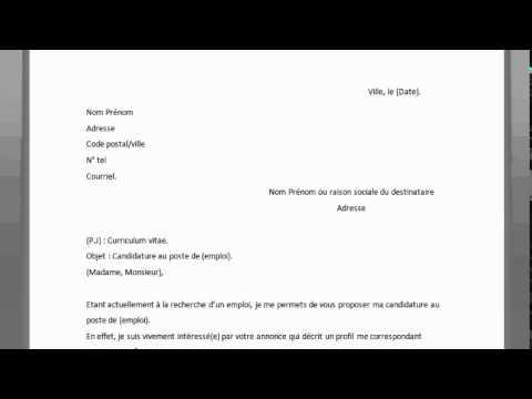 Comment Rediger Une Lettre De Motivation Pour Emploi Youtube