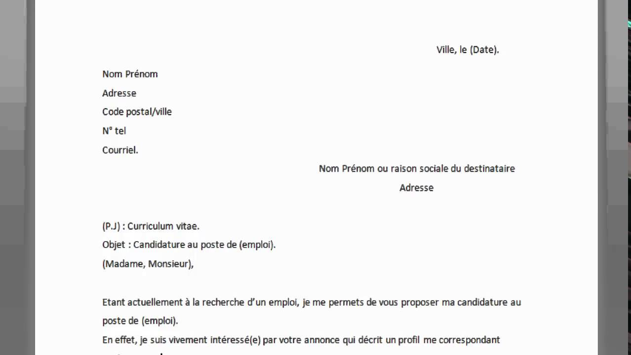 mail cv lettre de motivation