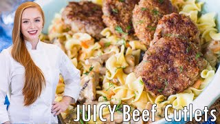 Juicy Beef Cutlets with gravy