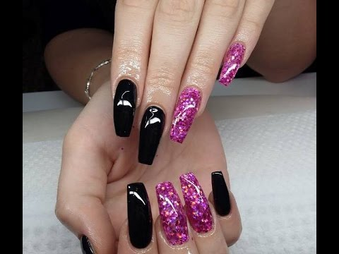 long black nails with glitter gel