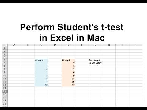 T-test In Excel In Mac