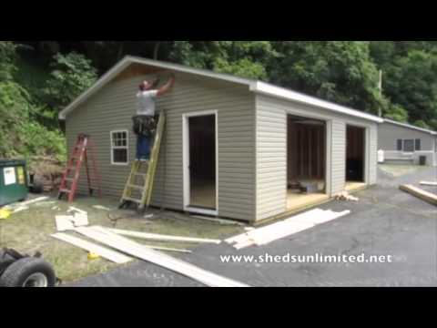 Double Wide Modular Garages In Five Hours Youtube