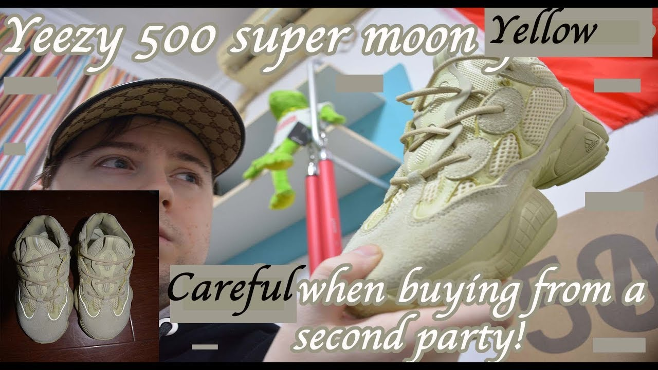 3d042ce293219 Yeezy 500 super moon yellow UA vs 1 1 vs fake vs real review. Pink yellow    Legit check.