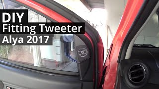DIY pasang fitting tweeter di ayla 2017