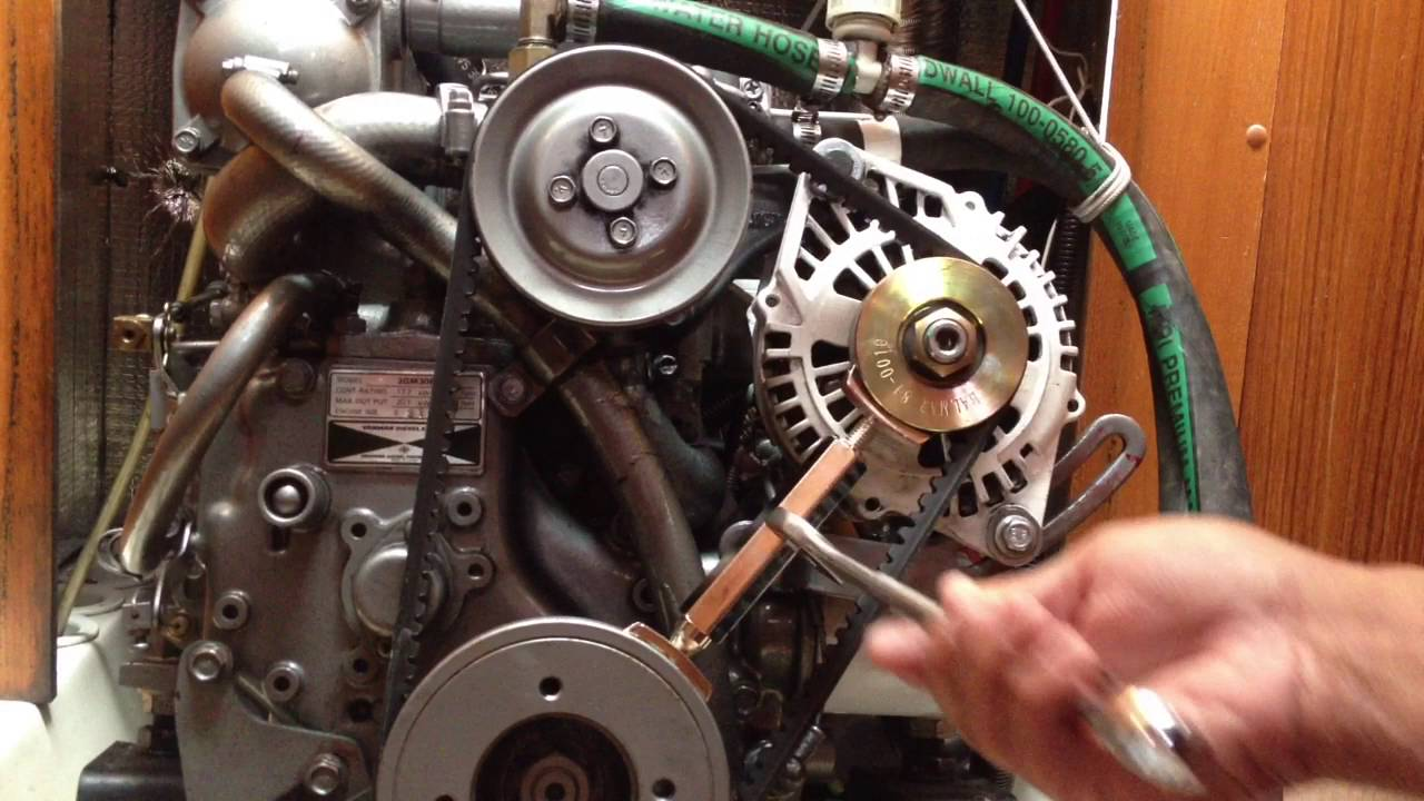 medium resolution of marine engine belt tensioner youtube 350 mercruiser engine belt pulleys diagram