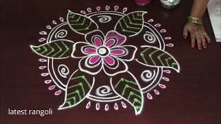 latest flower leaf color rangoli design without dots || creative flower rangoli kolam