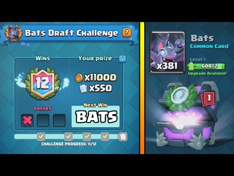 12-1 BATS ''DRAFT CHALLENGE' WINS :: Clash Royale :: A LOT OF NEW CARDS FROM THE CHEST OPENING!