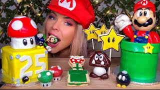 ASMR MARIO PARTY FOOD, EDIBLE MARIO, EDIBLE PIRANHA PLANT, GOOMBA, WARP PIPE, STAR, MUKBANG 먹방
