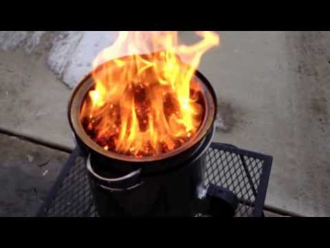 Video #2 DIY Walmart gasifier forge $24 with wood pellets big fire, boil snow in about Video 2