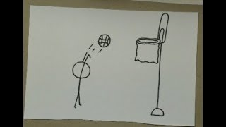 How to draw a stickman shooting a basketball