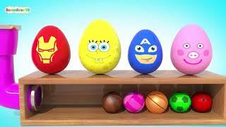 Яйца Супер Герои Играют в Спортивные Мячики   Обучающие Мультики для детей   Волшебство ТВ