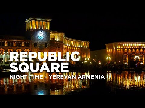 Night Time At Republic Square Yerevan Armenia