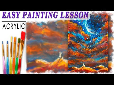 How to Paint Night UNIVERSE Landscape Acrylic tutorial Step by Step for beginners 🎨 Demonstration
